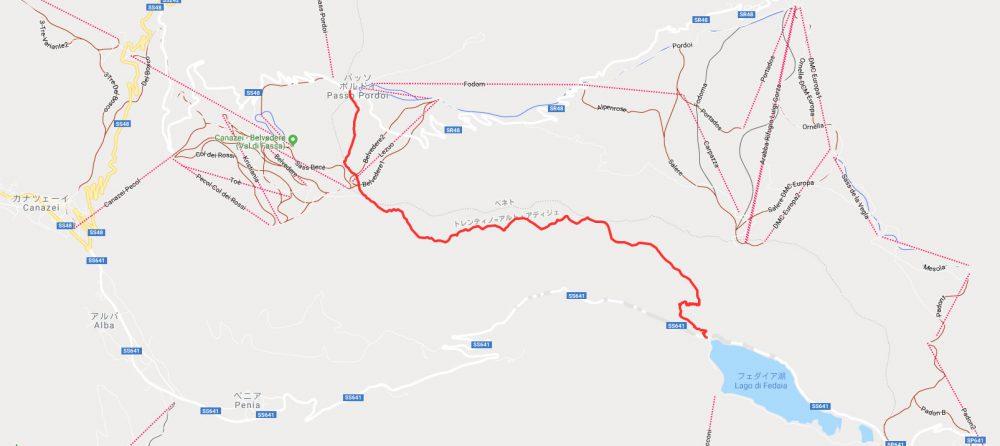 ドロミテの歩き方。ドロミテトレッキング、マップ。ヴィア・デル・パン:パッソ・ポルドイ(2239m)からフェダイア湖6.98km。