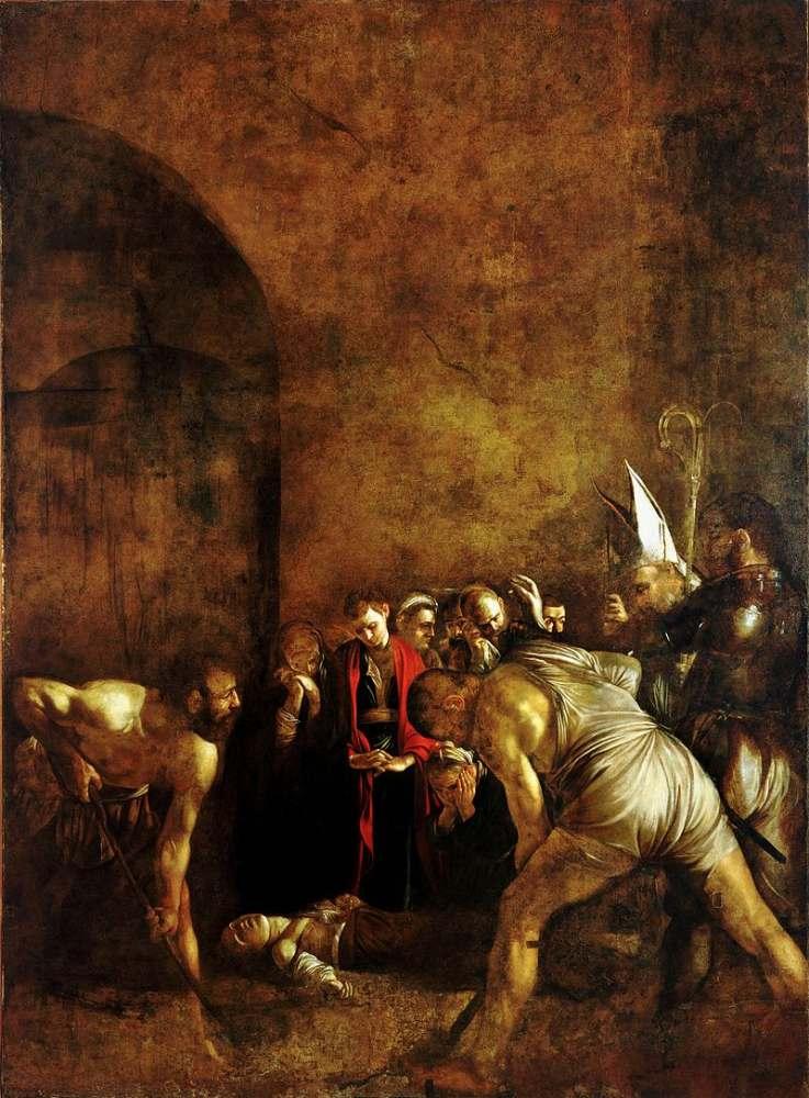 カラヴァッジョの「サンタルチアの埋葬」1608年。シチリア、シラクーサ、ドゥオーモ広場。