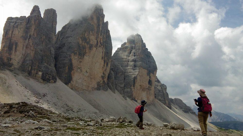 トレ・チーメ・ディ・ラヴァレード。とトレ・チーメに到達。だトレ・チーメ=三つの峰にやってきました。