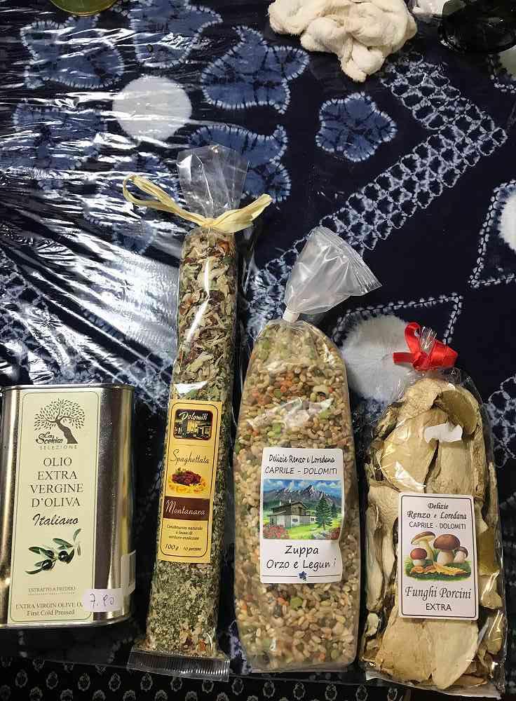 ドロミテおみやげ、乾燥フンギポルチーニ、オルゾ麦と雑穀のズッパの元、エクストラバージンオリーヴ油